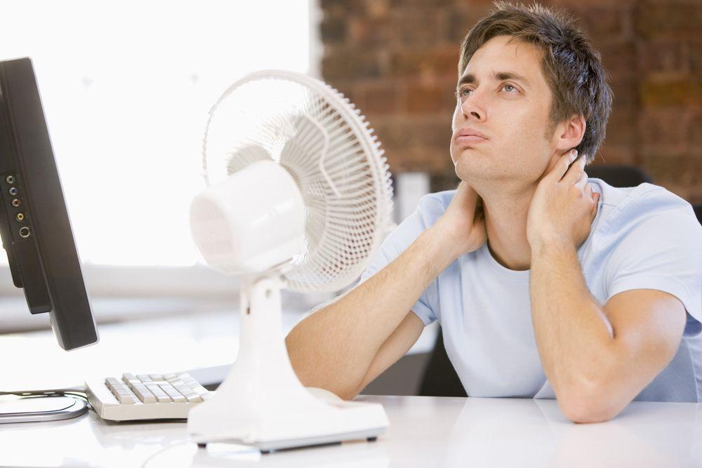 employee keeping himself cool