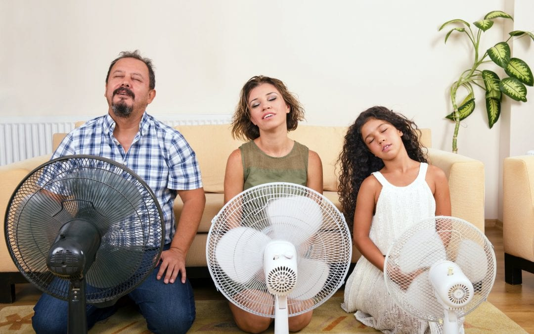 family staying cool using fans